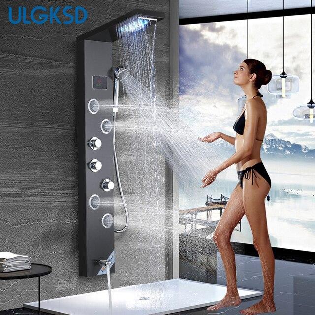 ULGKSD colonne de mélange, cascade LED panneau de douche de pluie, salle de bains, douche robinet Jets de Massage, baignoire douche, robinet Para maison et Bar