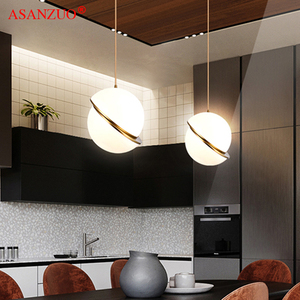Image 4 - נורדי מודרני לבן כדור בועת led תליון אורות מטבח סלון מסעדת חדר שינה זהב טבעת תליית מנורה