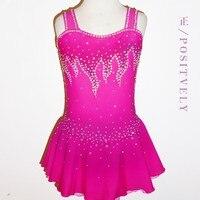 Розовый Фигурное катание платья девушки конкурс катание платье Лидер продаж для девочек на фигурных коньках платье на заказ Бесплатная дос