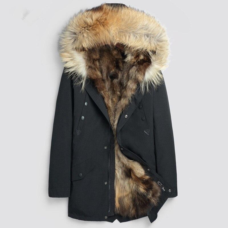 e30b02363c9 Mens Windbreaker Jackets Winter Fur Coats Snow Parka Hoodies Thicken Warm Outerwear  Overcoat Tops Large Size