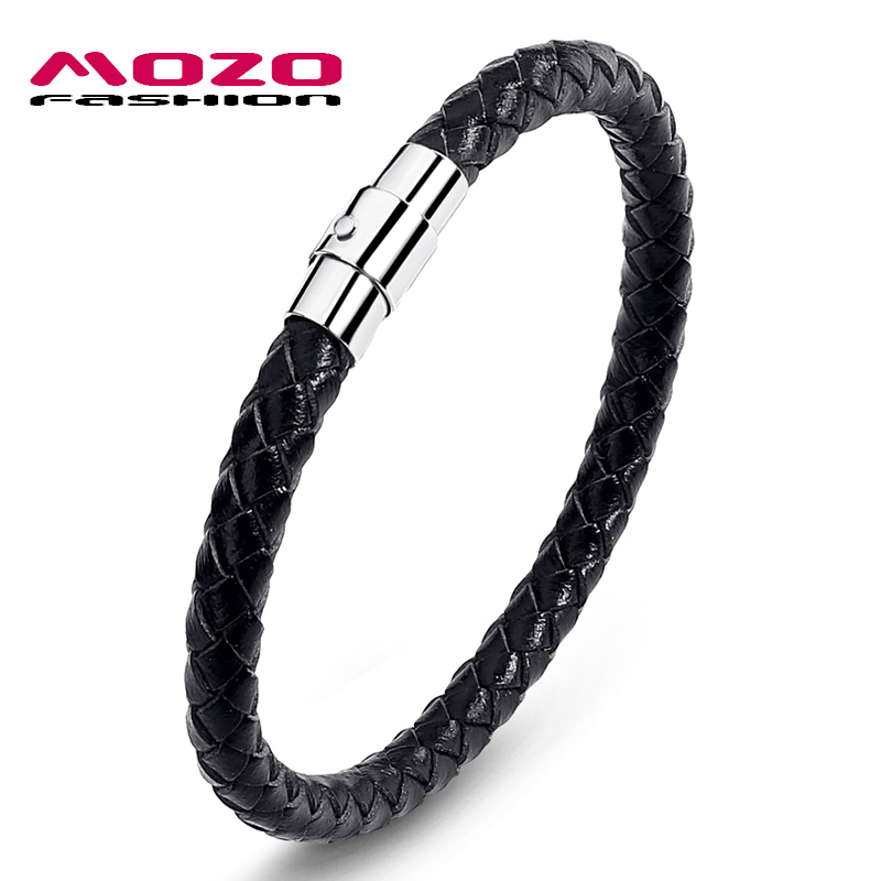 MOZO FASHION Men Bracelet Leather Rope Chain Bracelets Stainless Steel Magnetic Clasps Bracelet Man Gifts Vintage Jewelry PS0026
