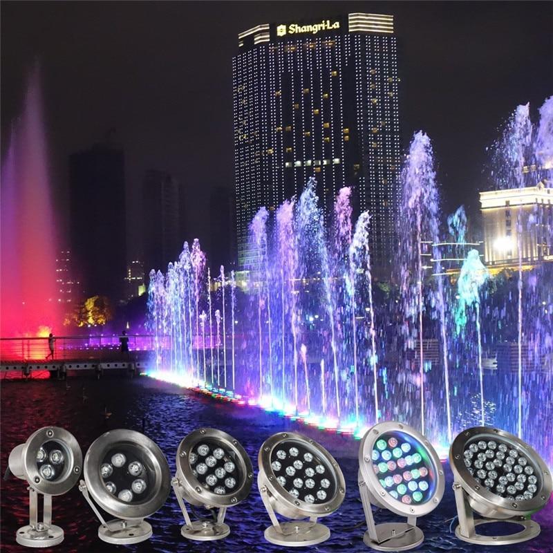 RGB LED Underwater Light 36W DC12V 24V IP68 Waterproof Swimming Pool Light Lamp Water Spotlight Fountain Lights Outdoor DMX512