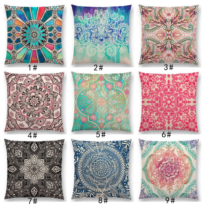 New Boho Art Flower Gorgeous Floral Diamond Doodle Botanical Geometry Mandala Decorative Pattern Cushion Cover Throw Pillow Case