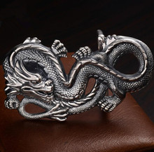 Handmade men's belt buckle 999 silver retro domineering dragon jewelry (SZ)