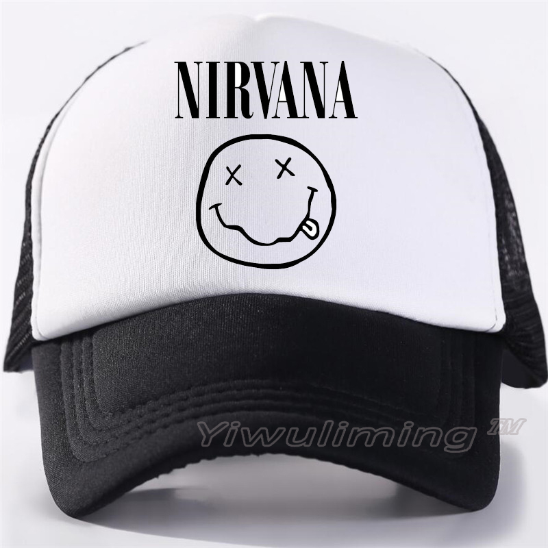 New Summer Trucker Caps Nirvana Cool Summer Black Adult Cool Baseball Mesh Net Trucker Caps Hat For Men Adjustable
