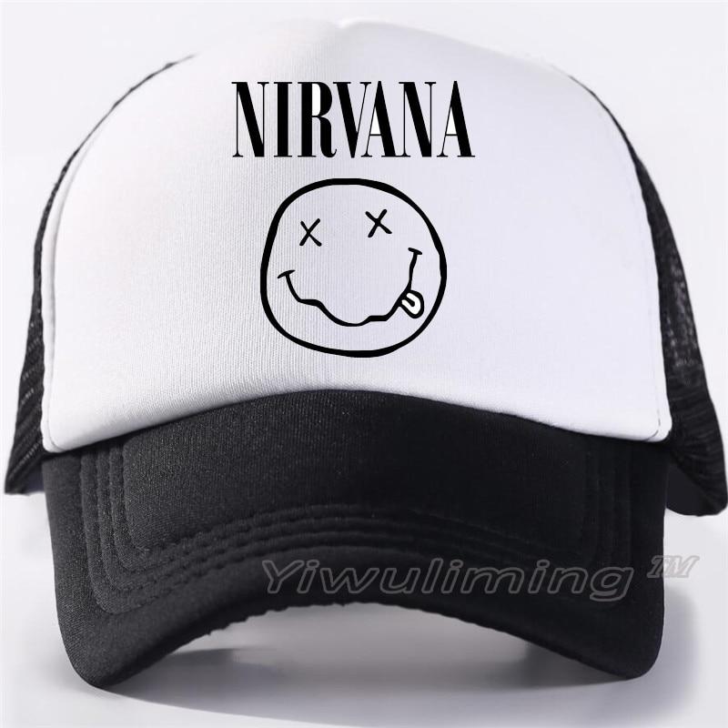 New Summer Trucker Caps Nirvana Cool Summer Black Adult Cool Baseball Mesh Net Trucker Caps Hat For Men Adjustable