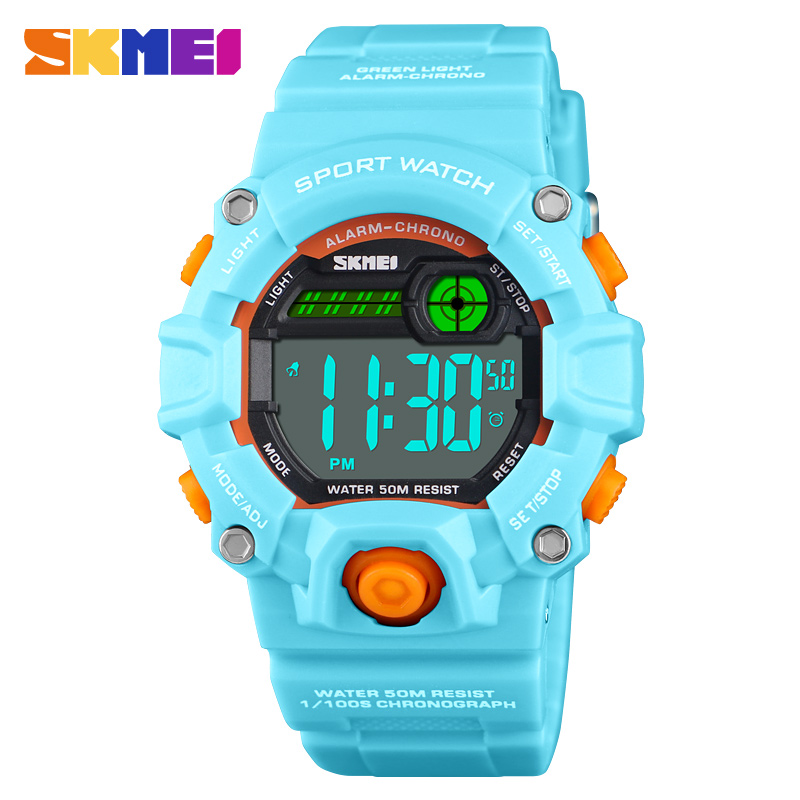 Children Digital Kids Watches 50 Meters Waterproof  Plastic Shell Led Watch For Boys And Girls Child Student Clock SKMEI 2019
