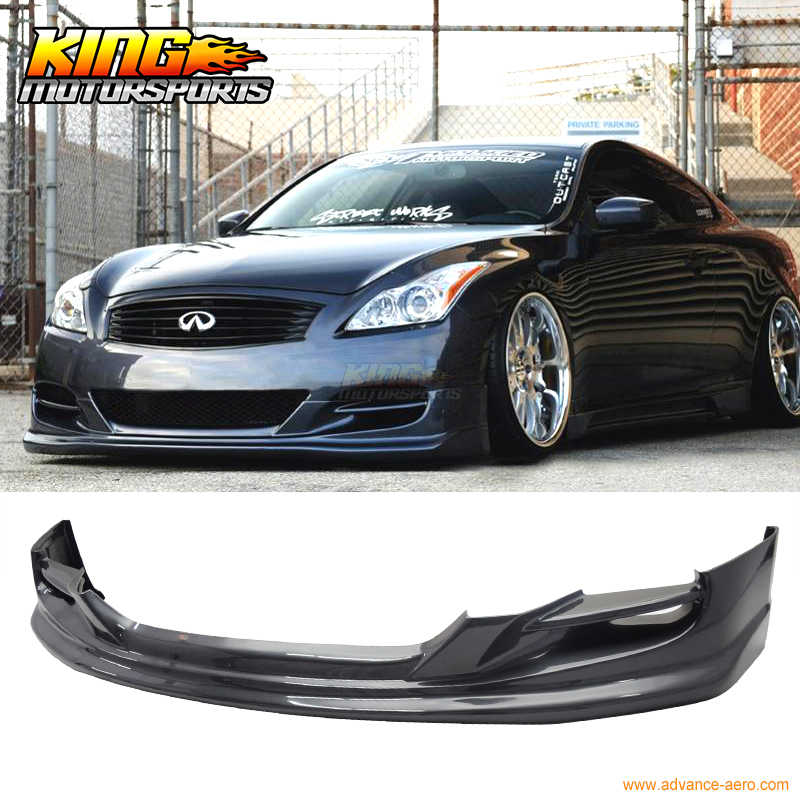Fits 2008-2014 Infiniti G37 2Dr Coupe Ts Style Front Bumper Lip Chin Spoiler PU Unpainted Black