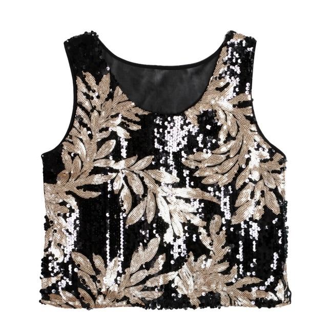 Popular Women Ethinic Boho Tank Tops Vest Crop Top Shirt Sparkling Sequin  Beach Wear Cami CV3 H2 7b5597da51f3