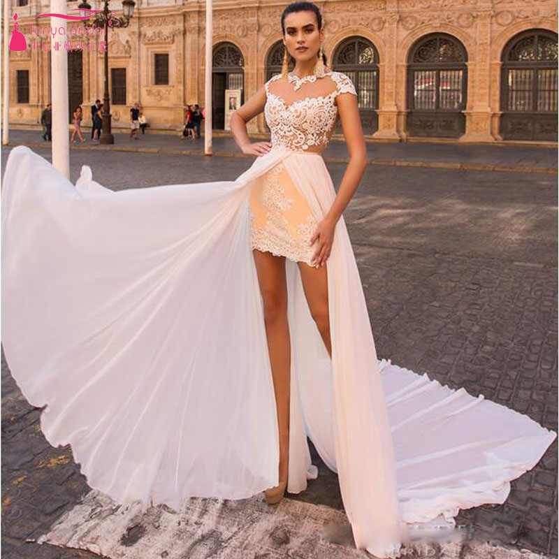 Champagne Short /Mini Wedding Dresses With Chiffon Detachable ...