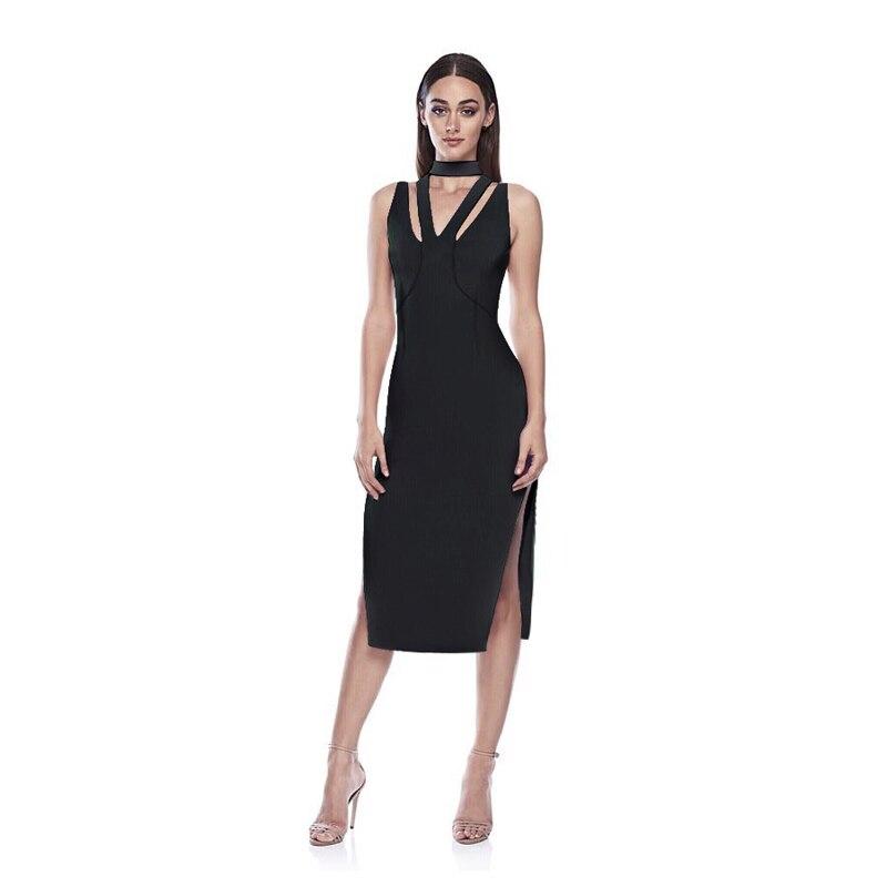 0b0785bc0ececd1 Лето 2019 г. без рукавов, обтягивающее, Бандажное платье новое поступление  модные вырезами разделение миди Вечеринка платья для женщин Vestidos о.