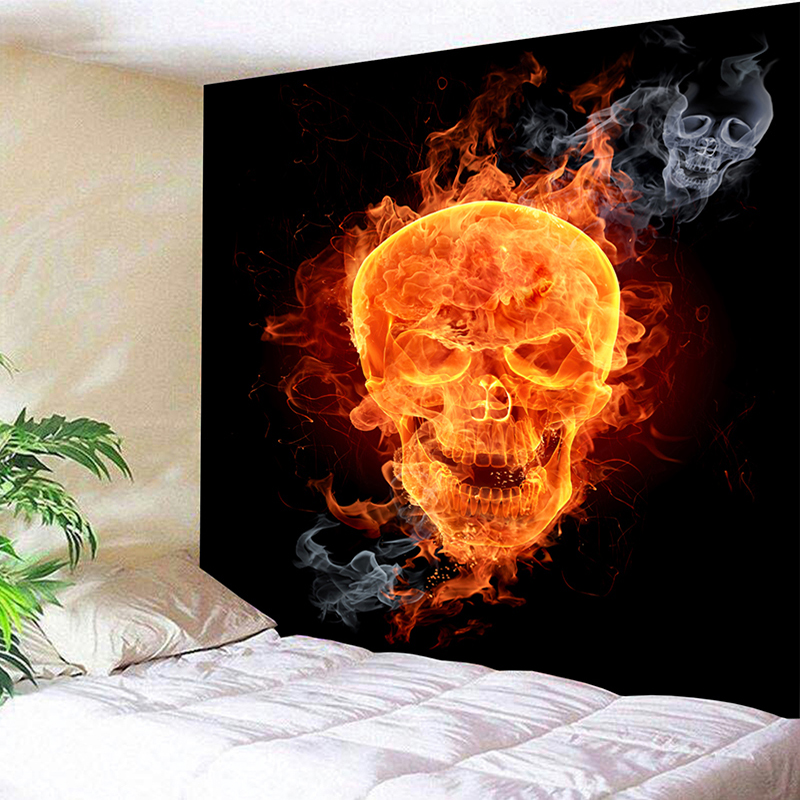 Flaming Sugar Skull Head Geometry Pattern Beach Towel Floral Tassel Tapestry Orange and Black Yoga Mat Flower Fashion Toalla