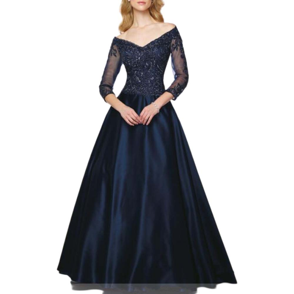 Navy Blue Mother Of The Bride Dress With Sleeves Plus Size Wedding Party Gowns Vestido De Madrinha Robe Mere De Mariee