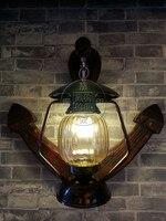 Китайский Ресторан огни Ретро творческая личность проход якорь дерева фонарь открытый настенный светильник Настенный светильник YA7263