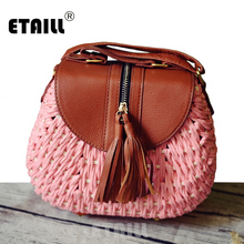 купить Fashion Woven Knitting Straw Bags Small Indian Women Summer Beach Weave Travel Messenger Bag Luxury Famous Brand Shoulder Bag дешево