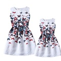 Mother daughter dresses family looking matching clothes kids floral print sleeveless baby girls party dress summer 2016 vestidos