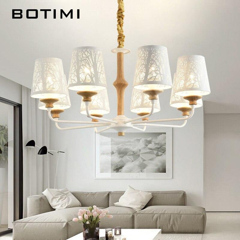 Botimi светодио дный Люстра для Гостиная деревянные декоративные блеск E27 люстры с Matel абажуры Освещение для кухни