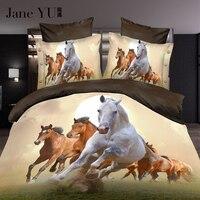 Janeyu роскошные king 3D лошадь Постельные принадлежности набор утешитель крышки комплект простыня наволочка набор 4 шт. постельный комплект быс