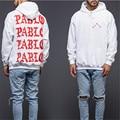 Kanye West PABLO Rojo Letras Impresas Sudadera Hombres Otoño Nueva Sudadera Con Capucha Blanca Suave Fleece Chándal Hip hop de Moda Sudadera Con Capucha