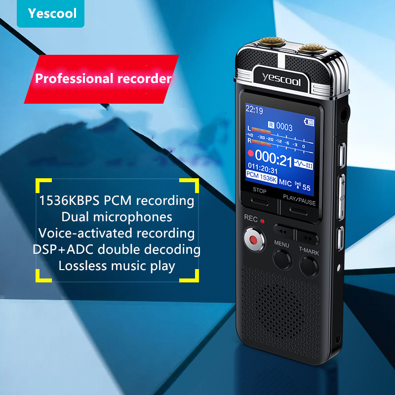 US $32 91 34% OFF|A90 Professional Dictaphone voice activated mini digital  voice recorder pen 8GB PCM recording Dual mic denoise HIFI MP3 player-in
