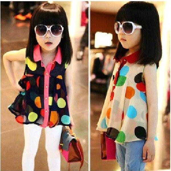 Colorful Polka Dot Stylish Lapel Collar font b shirts b font Fashion Girls Kid T font