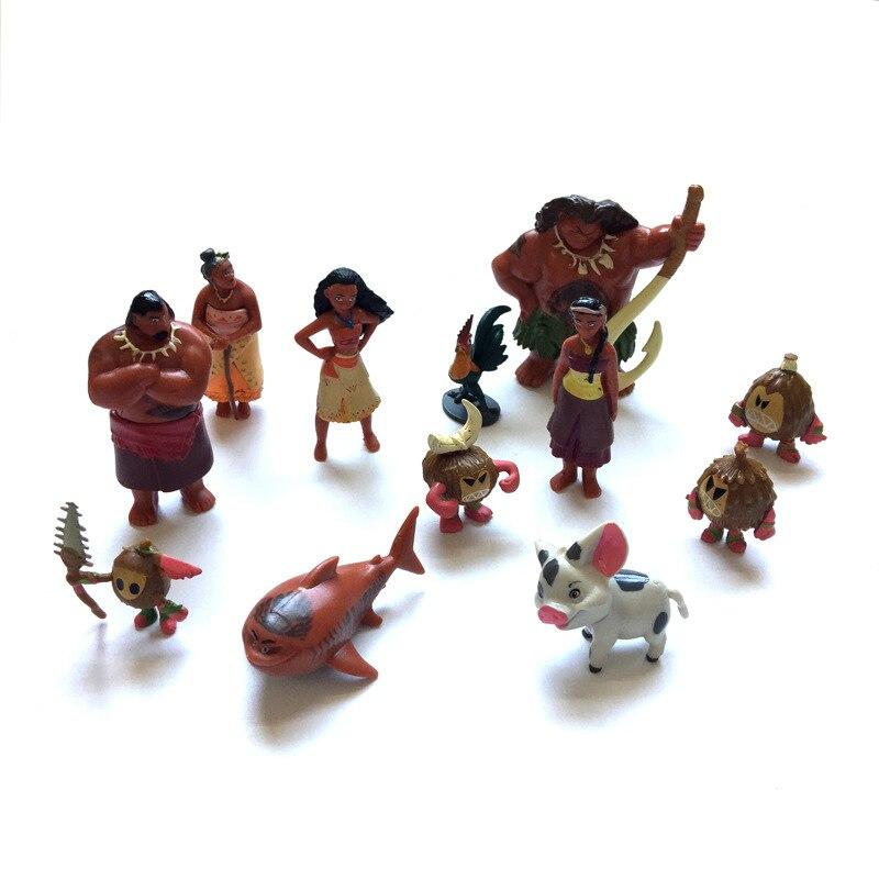 New Pop 12Pcs/Set Moana Model Toys Anime Moana Waialiki Maui Heihei Moana Adventure Action Figures Princess Toy Dolls kids toys