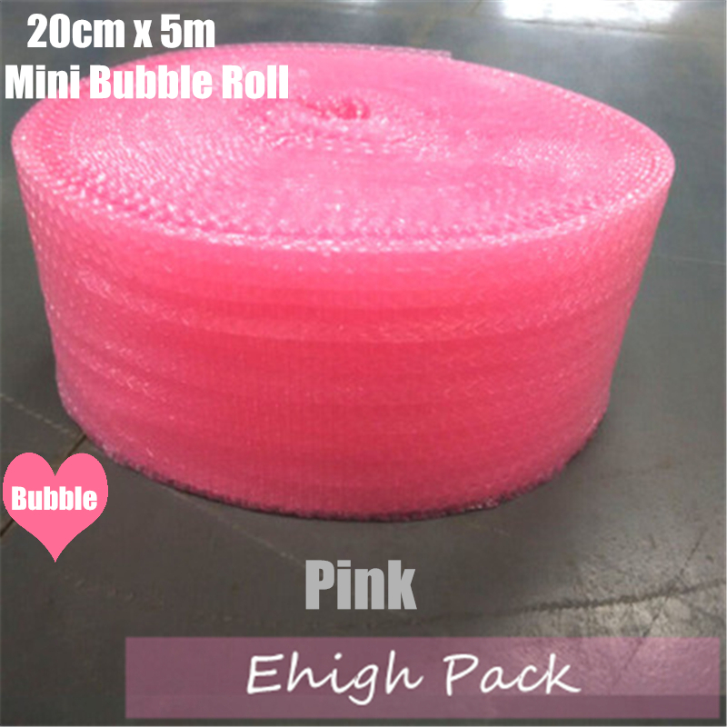 20cmx5m Pink Heart-shape Mini Air Bubble Roll Party Favors And Gifts Packing Foam Roll Wedding Decoration Emballage Bulle Warp