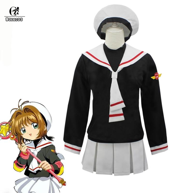 ROLECOS Sakura Kinomoto Cosplay Cardcaptor Sakura Cosplay Costume Anime Girl School Uniform Children Clothes Halloween Party
