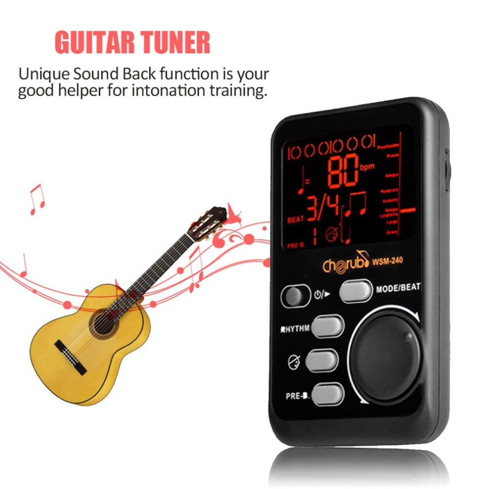 Protable Cherub Drum Universal Electronic Metronome Metro-Tuner Rhythm Device WSM-240 Musical Instruments Accessories cherub wsm 330 rose wood cherry wood mechanical metronome musical instrument tempo beat rhythm