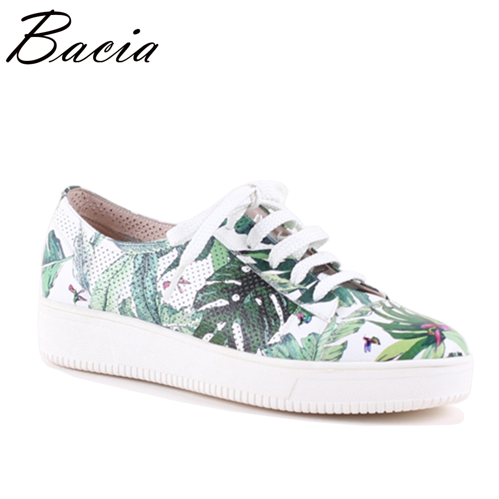 Bacia Print colorful Sneaker Casual Shoes Fashion Genuine Leather Women Flats Lace Up Moccasins Sapatos Femininos SB071 2017 new handmade women flats genuine leather oxfords shoes woman fashion ballets flats casual moccasins for women sapatos mujer