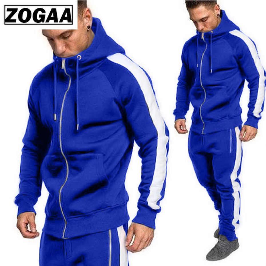 ZOGAA 2019 男性生き抜くパーカージッパースポーツウェアセット男性スウェットカーディガン男性セット衣類のパンツプラスサイズ