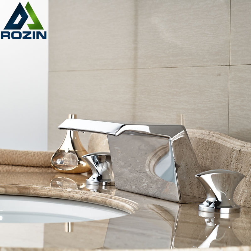 Modern New Waterfall Basin Faucet Deck Mount Widespread Bathroom Mixer Tap Chrome Finish newly modern simple bathroom waterfall widespread basin sink faucet chrome polish single handle single hole mixer tap deck mount