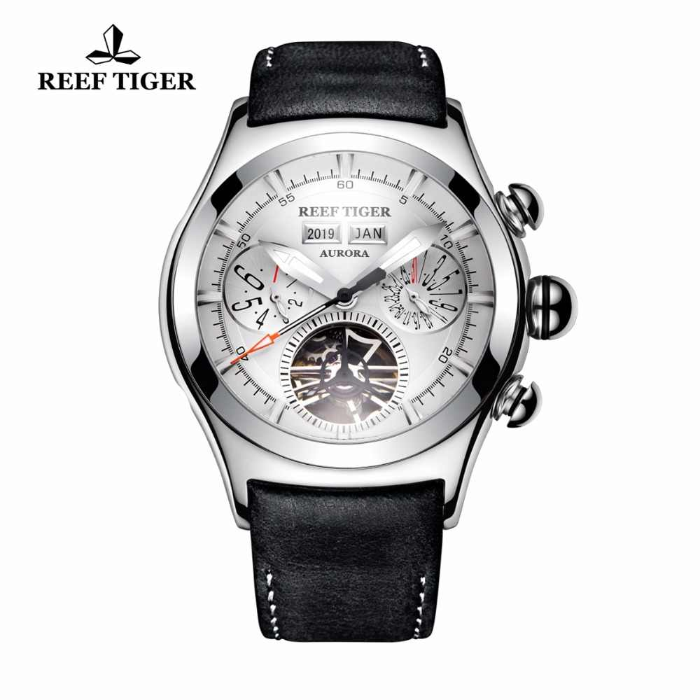 New Reef Tiger/RT Mechanical Watches for Men Genuine Leather Strap Steel Tourbillon Analog Watches RGA7503