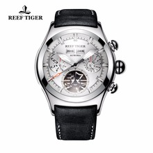 New Reef Tiger/RT Mechanical Watches for Men Genuine Leather
