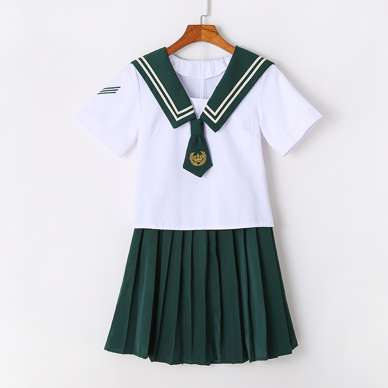 UPHYD Green Preppy Style Sailor Uniform Japanese School Girls Plus Size Short Sleeve Set
