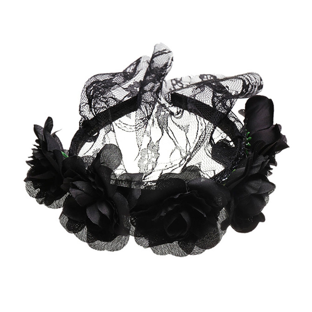 Vampire Bride Cosplay Rose Flower Lace Veil Halloween Headband Party Christmas Festival Hair Accessory Female Costumes Props 8