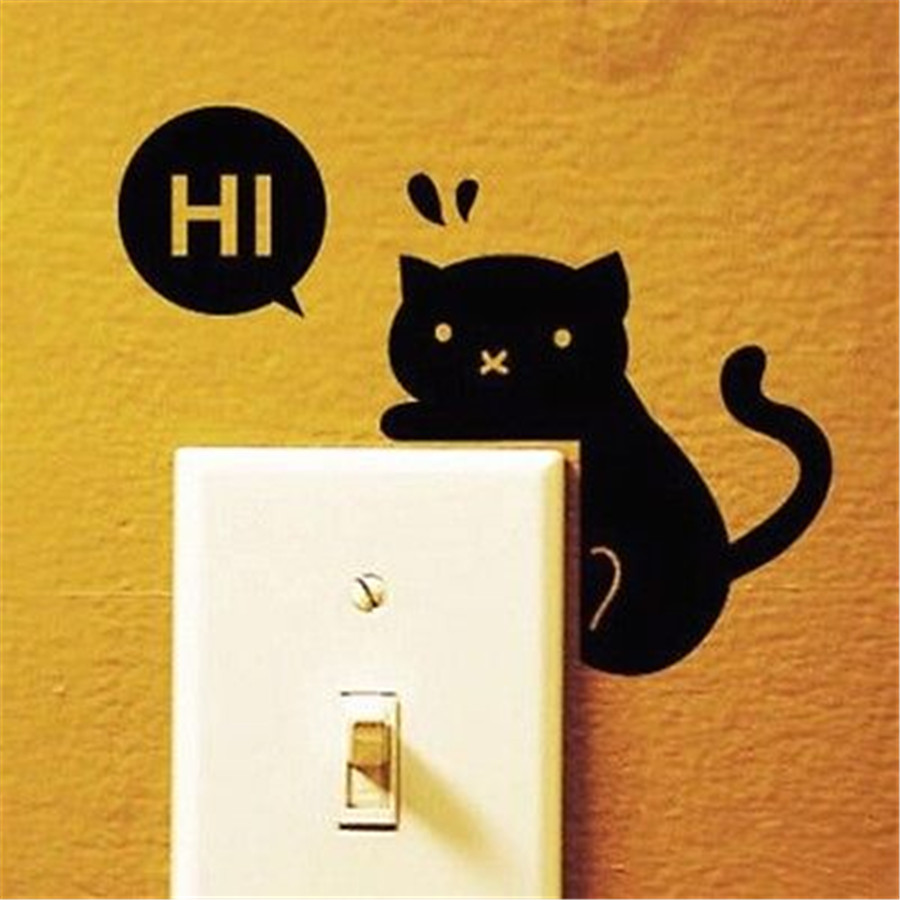 FD3752 new Playing Cat Sticker Home Decor Craft Bedroom Switch Wall DIY Sticker 1pc