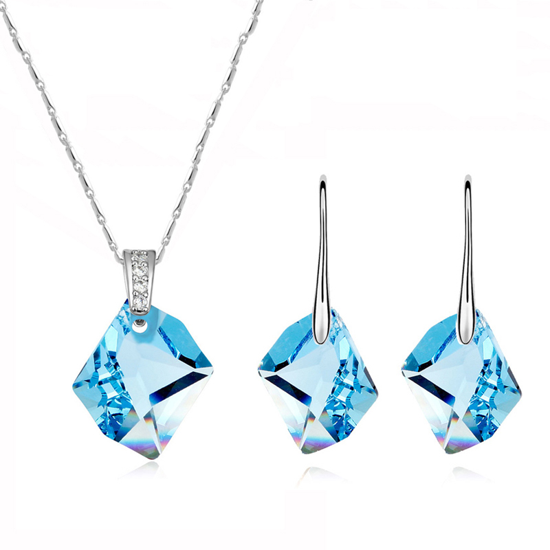 High Quality Wedding Jewelry Sets Crystal from Swarovski Geometric Pendant Necklace Drop Earrings For Women 2018 Christmas Gifts