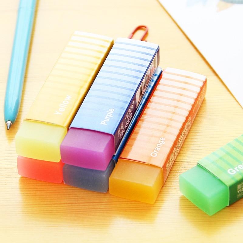 1 PCS Novelty Lovely Kawaii Colored Long Strip Rubber Eraser Creative Jelly Eraser For Kids Gift Student Prize Korean Stationery