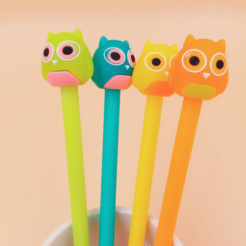 W13 2X Kawaii Owl Silicone Gel Pen Rollerball Pen Writing Signing School Office Supply Student Stationery 0.5mm Black