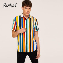 ROMWE Mens Single Button Up Multicolor Striped Casual Shirts Summer Short Sleeve Turn-down Collar Colorful Stripes Male
