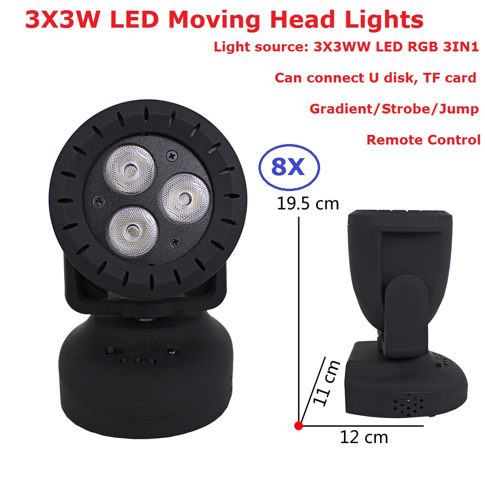 Remote Control 8Pcs/Lot 12W Mini Moving Head Wash Lights High Quality 3X3W RGB 3 Colors LED Strobe Lights Easy To Carry