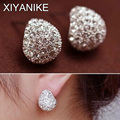 Fashion Jewerly Vintage Full Crystal Crescent Stud Earrings Beatles Earring For Woman New 2015 Christmas Gift Wholesale XY-E246