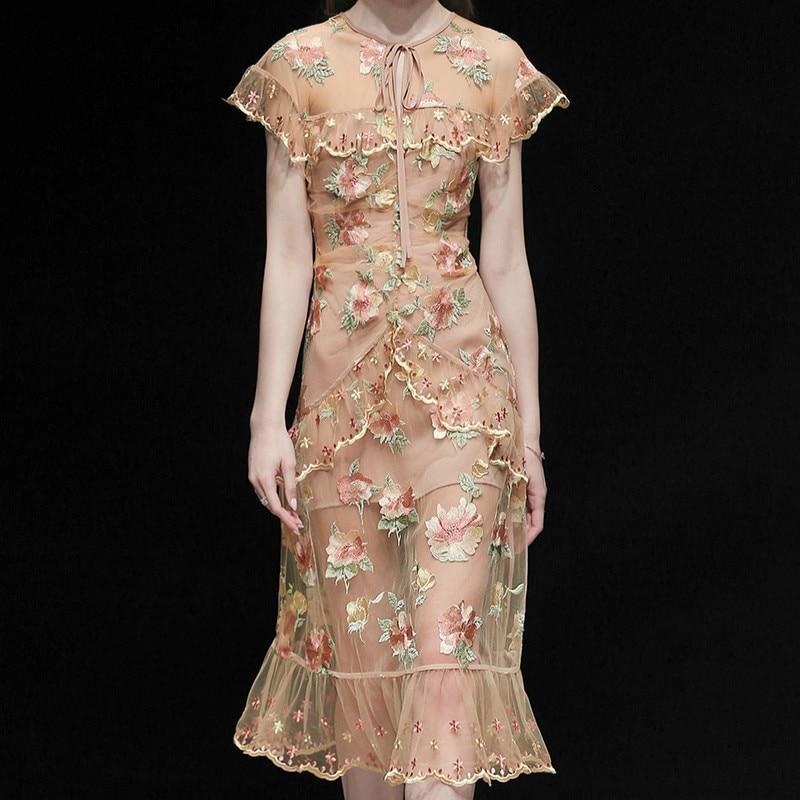 Summer 2019 Women Sexy Flower Embroidery Mesh Gauze Short Sleeve Ruffles Elegant Slim Mermaid Long Dress Femme Vestidos De Festa