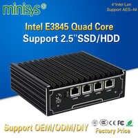 Minisys vendita Calda Intel Celeron E3845 Quad Core Mini Server di 4 Porte Lan AES-NI Pfsense trasporto del PC Router Del Computer di Sostegno 2.5 ''Hard Disk