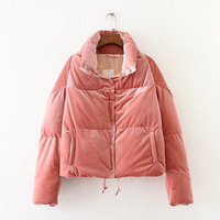2018 Female Parkas Cotton Lining Autumn Winter Women Wadded Short Jackets Pink Red Black Thick Outwear Casual Velvet Coat Parkas