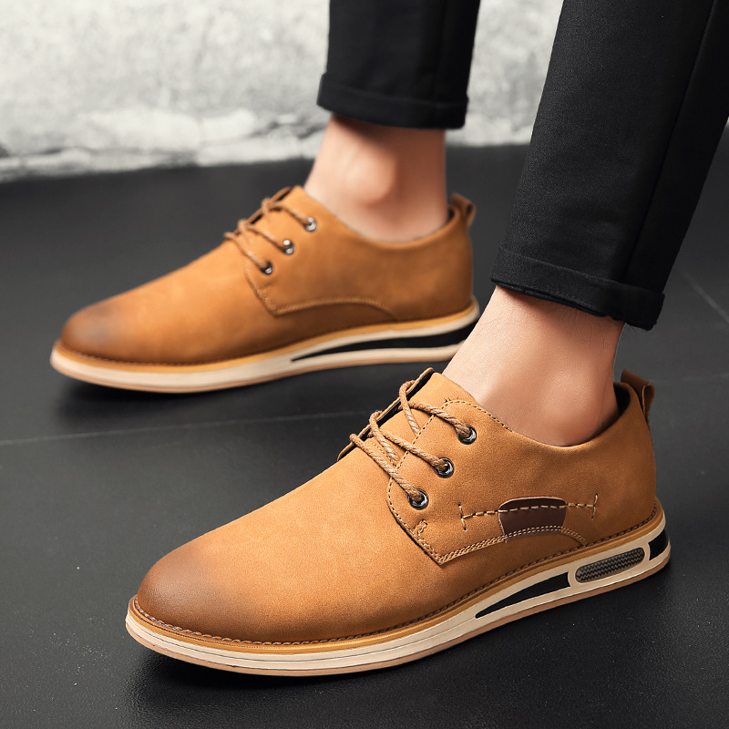 New Spring Men Shoes Leather Comfortable Men Casual Shoes Lace Up Flat Shoes For Men Zapatos Hombre 2018 Fashion Men's Shoes klywoo new white fasion shoes men casual shoes spring men driving shoes leather breathable comfortable lace up zapatos hombre