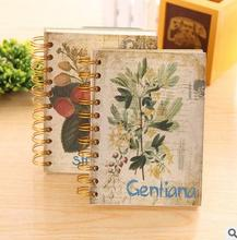 New hot classical flower style hard cover diary book creative retro coil notebook students stationery 120 sheets free shipping