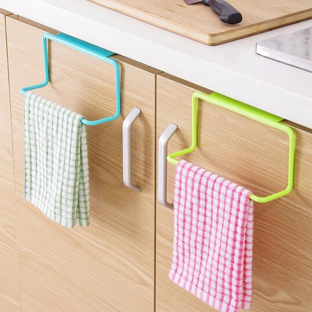 1pc New Portable Kitchen Cabinet Over Door Hanging Towel Rack Holder Bathroom Hanger 226217 In