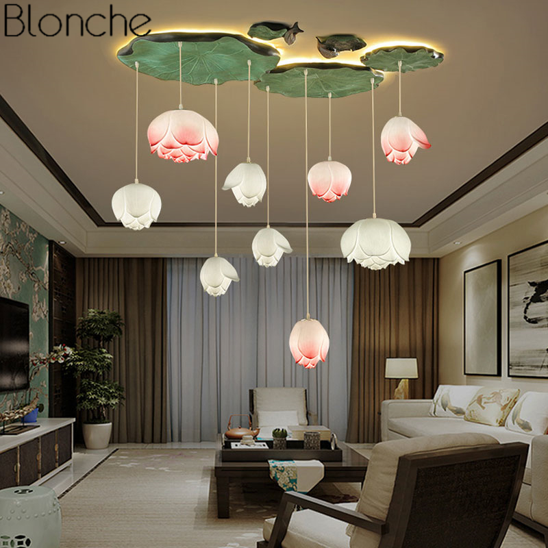 Chinese Style Lotus Pendant Lights Vintage Led Retro Flower Hanging Lamp Dining Room Kitchen Light Fixtures Luminaire Home Decor Big Discount Black